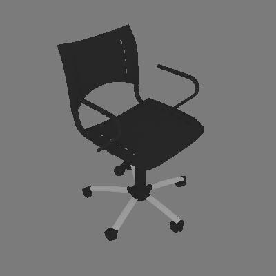 Cadeira de Escritório Secretária Giratória Evidence Cromada e Preto - Absolut