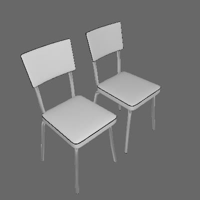 Conjunto 2 Cadeiras Retro Vinil Branco & Cromada