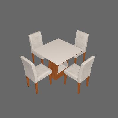 Conjunto de Mesa de Jantar Quadrada Alana com 4 Cadeiras Milena Suede Bege e Off White - Cimol