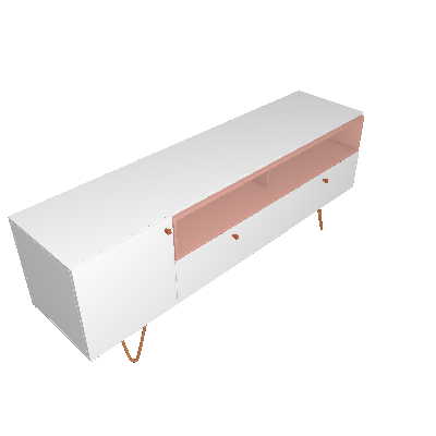 Rack Alasca Branco e Rosé 162 cm - Olivar Móveis