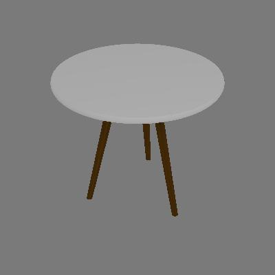 Mesa Lateral Redonda Toka Castanho e Branca 50 cm - Uvim
