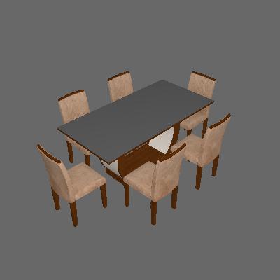 Conjunto de Mesa de Jantar com 6 Cadeiras Maia II Suede Animalle Castor e Chocolate - Rufato