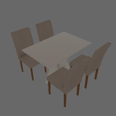 Conjunto de Mesa de Jantar Creta III com 4 Cadeiras Olímpia Veludo Off White e Palha - Leifer