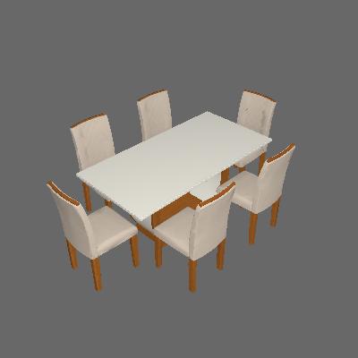 Conjunto de Mesa de Jantar com 6 Cadeiras Estofadas Maia I Veludo Off White e Creme - Rufato