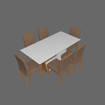 Conjunto de Mesa de Jantar Sofia com 6 Cadeiras Lunara Creme e Imbuia