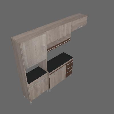 Cozinha Compacta Alice 10 PT 3 GV Champanhe e Chocolate - CHF Móveis