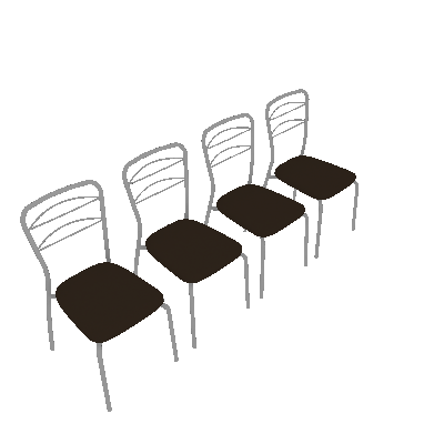 Conjunto 4 Cadeiras Aramada Vinil Cacau & Crom - Pozza