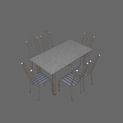 Conjunto de Mesa Luiza com 6 Cadeiras Craqueado Preto Listrado - Artefamol