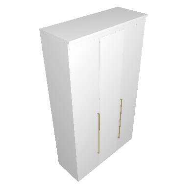 Guarda-Roupa Solteiro com Espelho Originale 3 PT 3 GV Branco - Belmax