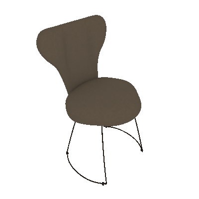 Cadeira Jacobsen Meia Lua Linho Cinza - Daf