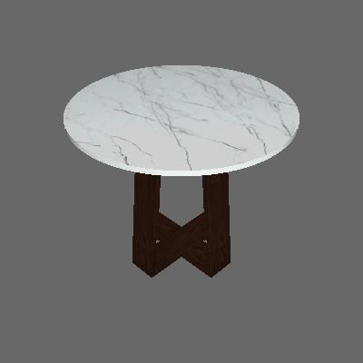 Mesa de Jantar Redonda com Tampo de Vidro Isabela Castanho e Carrara 100 cm - New Ceval