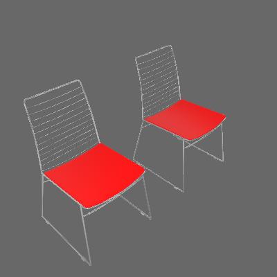 Conjunto 2 Cadeiras Dance Cromada Vermelho - Carraro Móveis