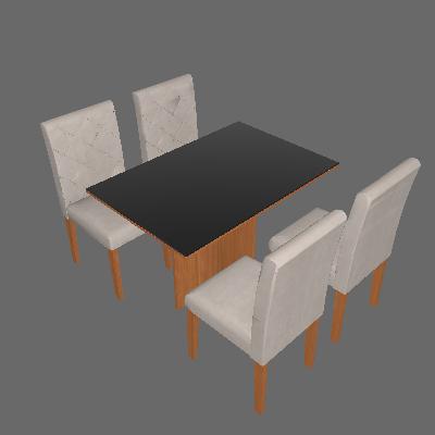 Conjunto de Mesa de Jantar com 4 Cadeiras Ane Linho Imbuia e Preto - Rufato