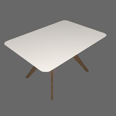 Mesa de Jantar Retangular Cleo Off White e Freijó 100 cm - Brigatto