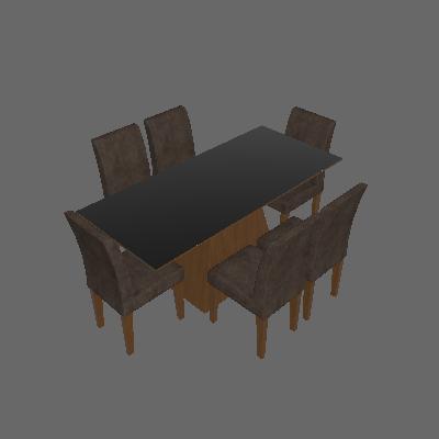 Conjunto de Mesa Luna II 180 cm com 6 Cadeiras Grecia Suede Amassado Imbuia e Chocolate - Rufato
