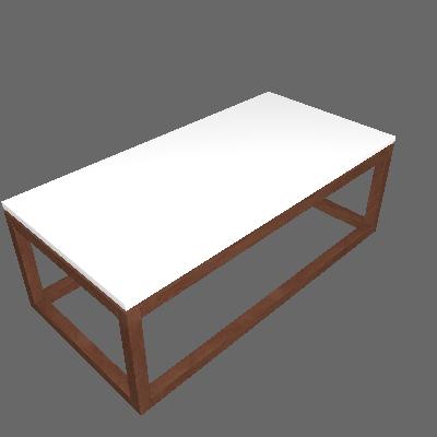 Mesa de Centro Retangular Supreme Branca e Amêndoa - Tebarrot
