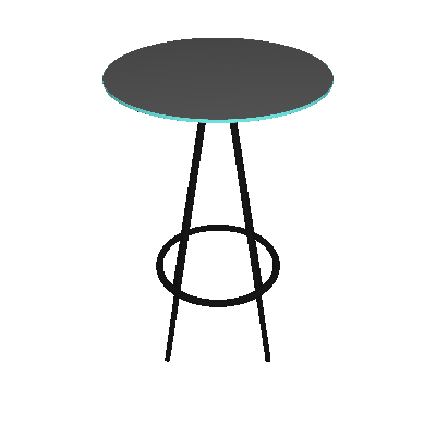 Mesa Bistrô Redonda com Tampo de Vidro Bréscia Preta - Pozza