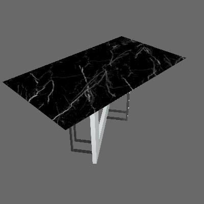 Mesa de Jantar Retangular com Tampo de Vidro Munique Off White e Nero 160 cm - New Ceval