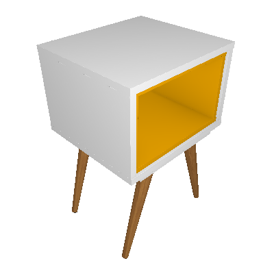 Conjunto com 2 Mesas Laterais Retangulares Retrô Branco e Amarelo - Mobly