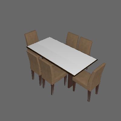 Conjunto de Mesa de Jantar com Vidro e 6 Cadeiras Grécia Castor e Chocolate