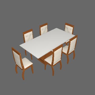 Conjunto de Mesa de Jantar Alvorada com 6 Cadeiras Estofadas Tamara Veludo Off White e Creme - Rufato