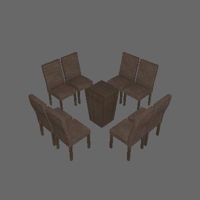 Conjunto de Mesa 1.4 com 8 Cadeiras Ômega Malbec