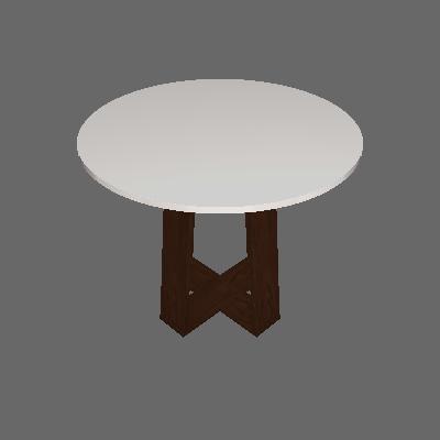 Mesa de Jantar Redonda com Tampo de Vidro Isabela Castanho e Off White 100 cm - New Ceval