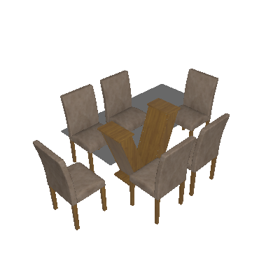 Conjunto de Mesa Classic 160 cm com 6 Cadeiras Suede Ypê e Bege - Quality