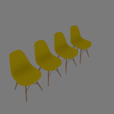 Conjunto de 4 Cadeiras Eiffel Amarela - Rivatti
