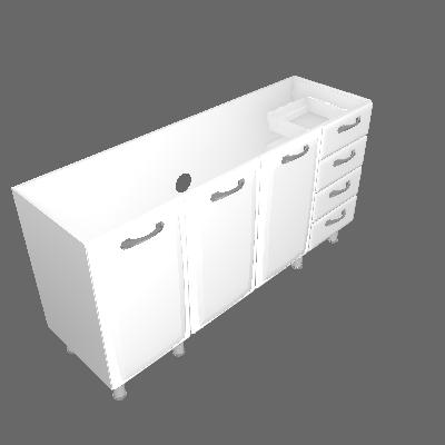 Gabinete 03 Portas e 04 Gavetas Sem Tampo (IG4G4GD-160 ST)