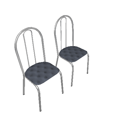 Conjunto 2 Cadeiras 005 Branco E Estampa Capitonê - Artefamol