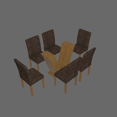 Conjunto de Mesa Classic 160 cm com 6 Cadeiras Suede Ypê e Marrom