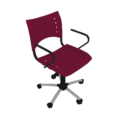 Cadeira de Escritório Secretária Giratória Evidence I Cromada e Rosa - Absolut