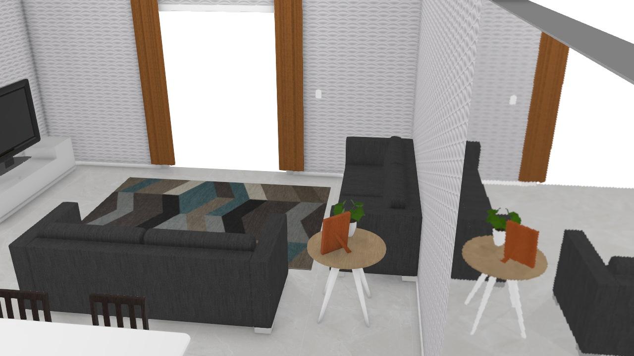 Sala de estar, jantar e cozinha
