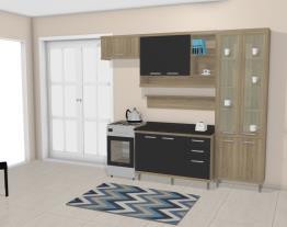 Cozinha Modulada Completa 4 Módulos com Paneleiro com Porta de Vidro Sicília Argila/Preto - Multimoveis