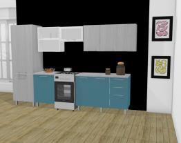 Cozinha Modulada em Aço Completa 6 Módulos Play Madeirado Sal/Azul Anis - Casamob