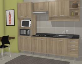 Cozinha Modulada Completa 5 Módulos com Paneleiro 4 Portas Espaço para Forno/Micro-ondas Sicília Árgila
