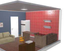 cozinha vermelha e azul.