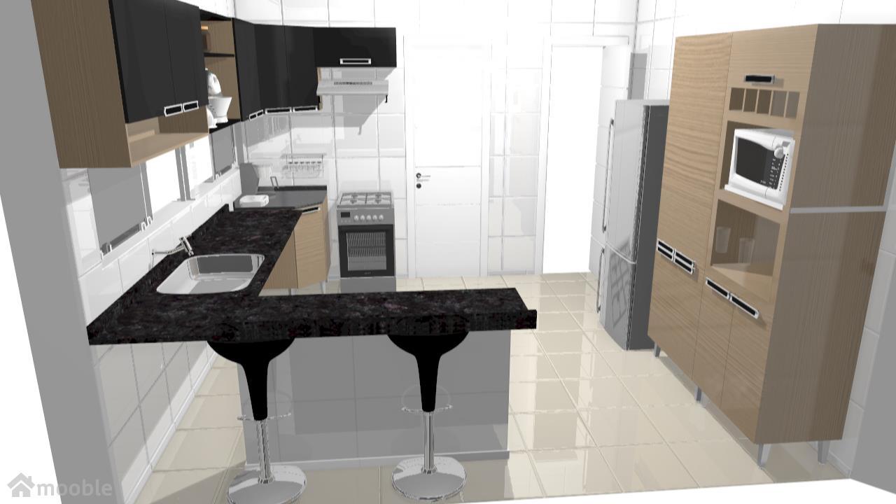 cozinha com nicho e balcão da pia