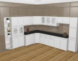 Cozinha Modulada Completa 11 Módulos Evidence em Aço Branco - Bertolini (Cod. 139593)