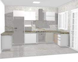 Cozinha com a geladeira ao lado do fogão