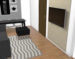 Sala bancada preta e painel madeira clara