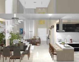 2 Salas intregradas e cozinha - Graziela Lara