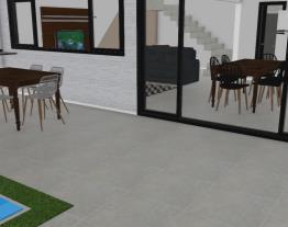 Casa planta madeira, metal e vidro