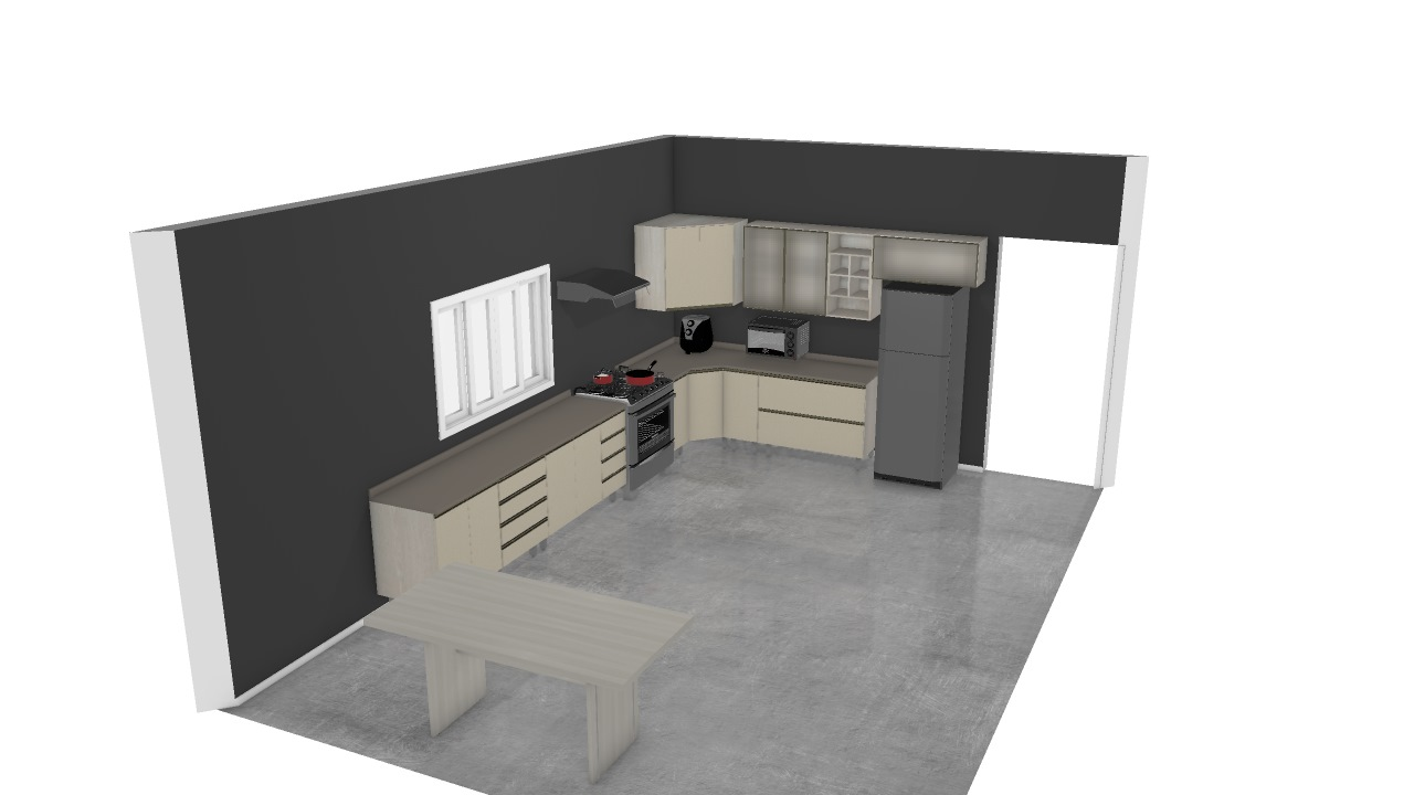 Cozinha Mesa Canto De Kelly Planta 3d Mooble