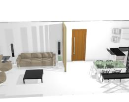 cozinha e sala com 2 divisorias