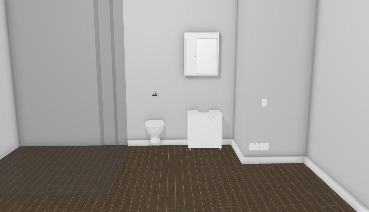 3385 3403 - Armário aéreo para banheiro + Balcão para banheiro com duas portas - CE fechado - Branco