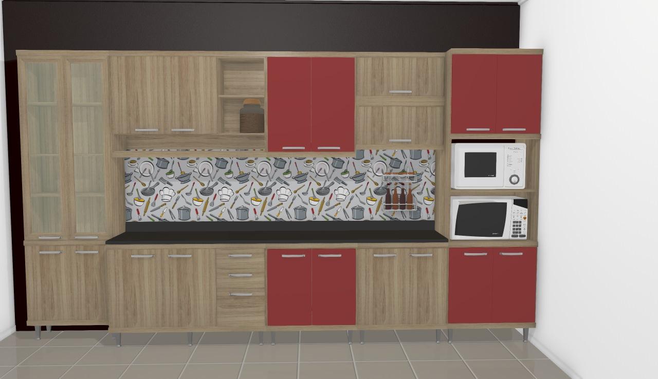 Cozinha Modulada Completa 9 Módulos Sicília Argila/Vermelho - Multimoveis