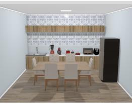 cozinha com mesa de 6 cadeiras