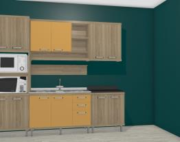 Cozinha Modulada Completa 5 Módulos Sicília Argila/Amarelo - Multimoveis